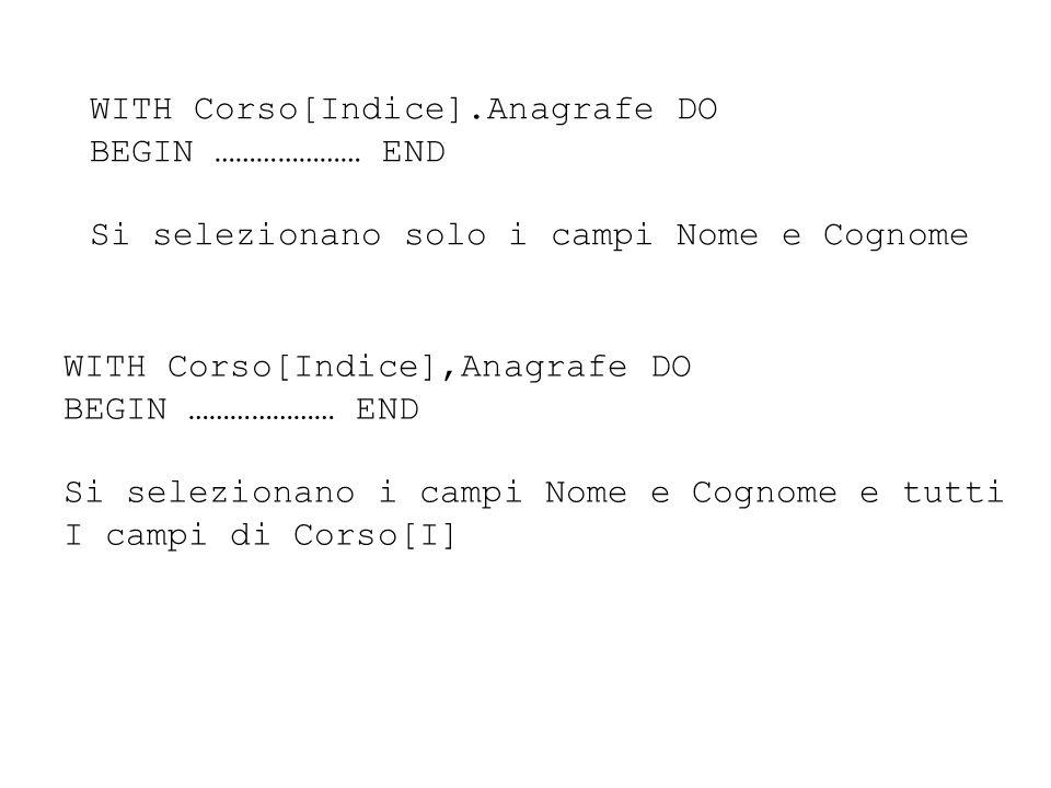 WITH Corso[Indice].Anagrafe DO BEGIN ………………… END Si selezionano solo i campi Nome e Cognome WITH Corso[Indice],Anagrafe DO BEGIN ………………… END Si selezionano i campi Nome e Cognome e tutti I campi di Corso[I]