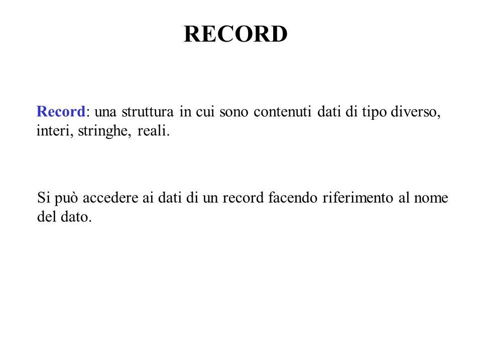 RECORD Record: una struttura in cui sono contenuti dati di tipo diverso, interi, stringhe, reali.