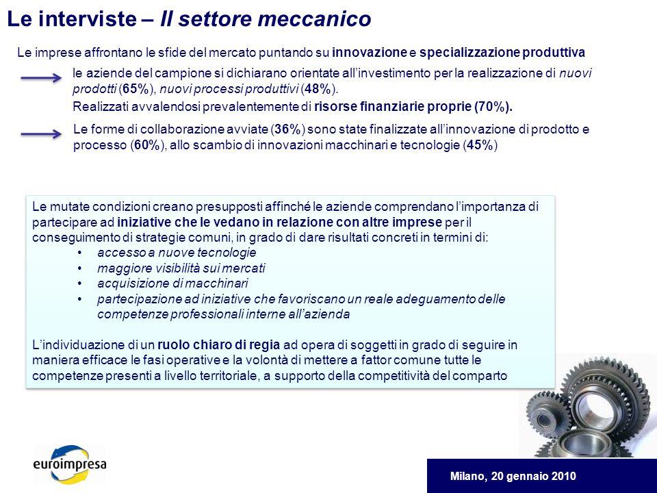 Milano, 20 gennaio 2010 Le interviste – Il settore meccanico Le imprese affrontano le sfide del mercato puntando su innovazione e specializzazione produttiva le aziende del campione si dichiarano orientate allinvestimento per la realizzazione di nuovi prodotti (65%), nuovi processi produttivi (48%).
