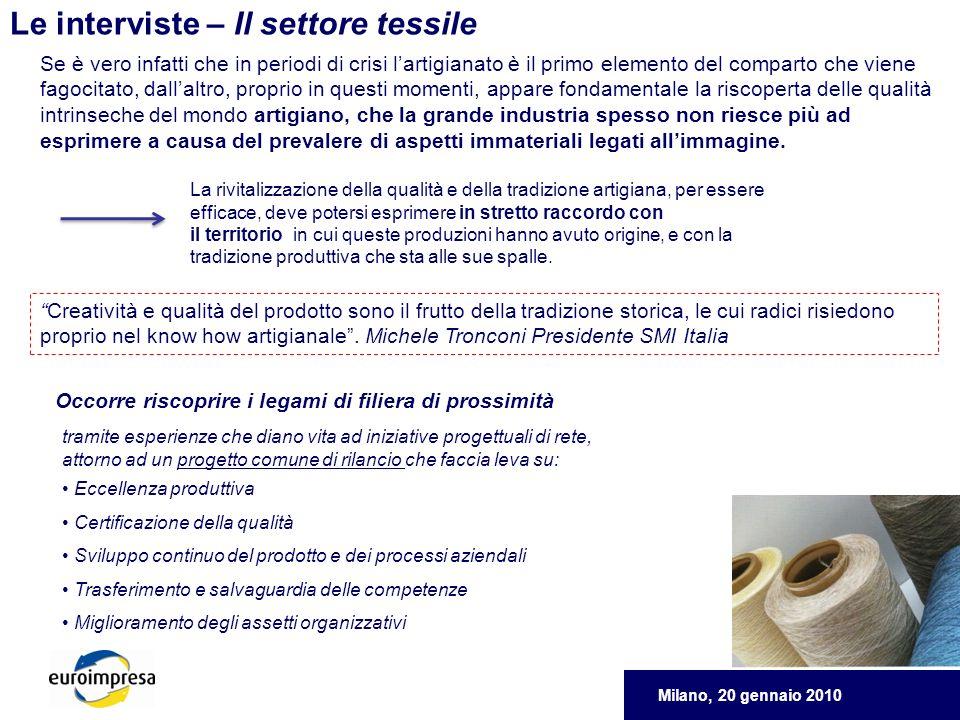 Milano, 20 gennaio 2010 Le interviste – Il settore tessile Creatività e qualità del prodotto sono il frutto della tradizione storica, le cui radici risiedono proprio nel know how artigianale.
