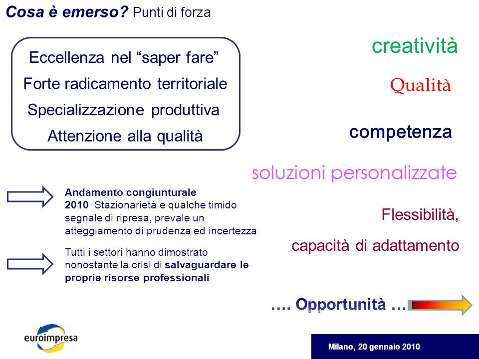 Milano, 20 gennaio 2010 Cosa è emerso.