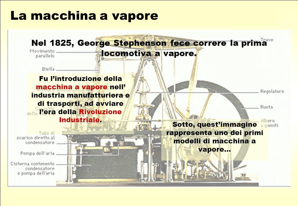 Fu lintroduzione della macchina a vapore nell industria manufatturiera e di trasporti, ad avviare lera della Rivoluzione Industriale.
