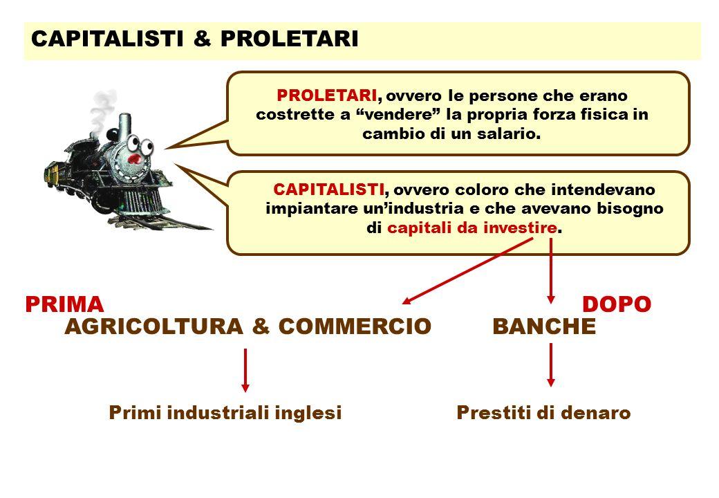 CAPITALISTI & PROLETARI CAPITALISTI, ovvero coloro che intendevano impiantare unindustria e che avevano bisogno di capitali da investire.