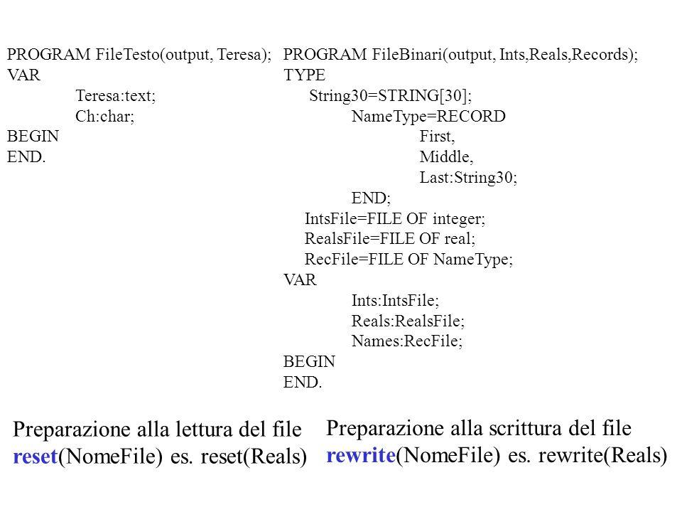 MERGE Pseudo codice {Merge(LaSessione, Semester, OldMaster,NewMaster} prendi un record MStu1 da OldMaster {GetMasterRec(MStu1)} prendi un record MStu2 da Semester {GetSemesterRec(LaSessione,MStu2,Semester} WHILE NOT sono finiti i due file DO write il record con nome più piccolo in NewMaster prendi un altro record dal file giusto {OldMaster o Semester} copia gli ultimi record MStu1 e MStu2 in NewMaster {CopyLastTwo(MStu1,MStu2,NewMaster} {CopyOldMasterRecs(OldMaster,NewMaster} copia ordinatamente i record dai file non esauriti in NewMaster {CopySemesterRecs(LaSessione,Semester,NewMaster} Semester OldMaster NewMaster StuRecord MStuRec