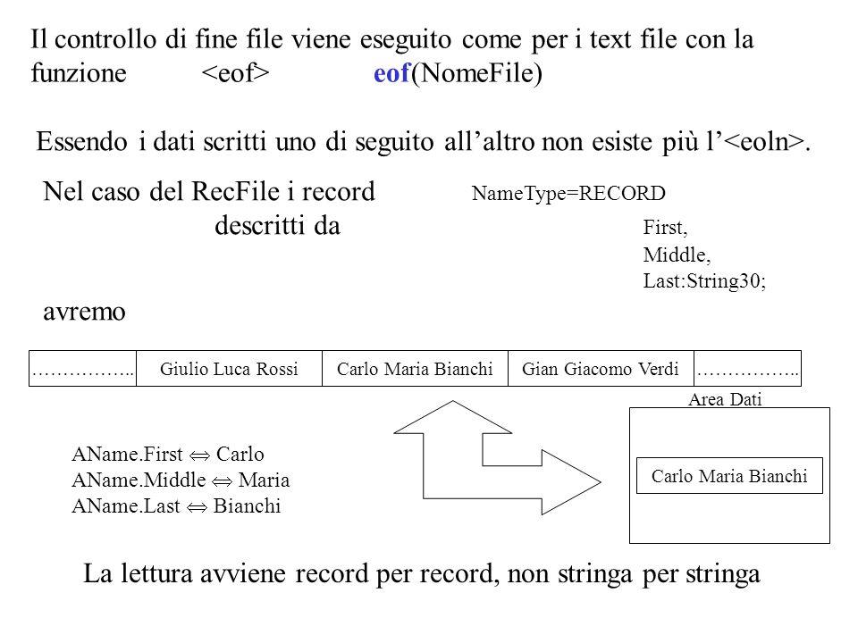 CONST TotaleProve=100; TYPE Stringa4 = STRING[4]; Stringa10 = STRING[10]; Stringa25 = STRING[25]; RisultatiArray=ARRAY[1..TotaleProve] OF integer; StuRecord = RECORD Cognome, Nome : Stringa25; Nascita:Stringa10; Matricola:Stringa10; AnnoCorso:Stringa4; Risultati:RisultatiArray; Media:real; END; MStuRecord= RECORD Sessione:Stringa25; Info:StuRecord END; StuRecFile= FILE OF StuRecord; MStuRecFile= FILE OF MStuRecord; VAR LaSessione: Stringa25;{semestre appena finito} Semester: StuRecFile; {file semestre appena finito} OldMaster:MStuRecFile;{file preesistente} NewMaster : MStuRecFile; {file aggiornato} StuRecord NascitaMatricola CognomeNome AnnoCorsoRisultatiMedia Sessione MStuRecord SemesterOldMaster NewMaster SessioneStuRecord SessioneStuRecord MStuRec