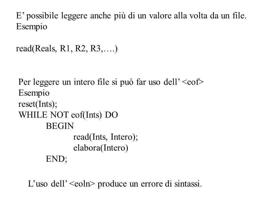 {BODY} BEGIN assign(testo, c:\tp\esempi\posta.txt ); reset(testo); righe:=0; elaboratesto(testo,righe); write( Non ci sono pi messaggi ); readln; END.