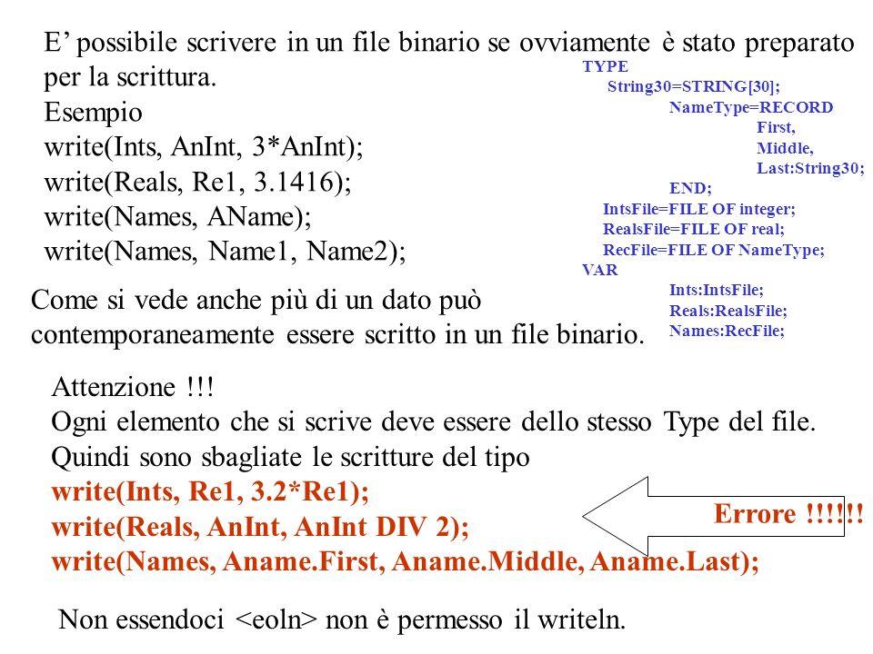 COPIA DI FILE BINARI Supponiamo di avere due file binary AFile e Bfile aventi lo stesso SomeType le cui componenti sono del tipo ComponentType.