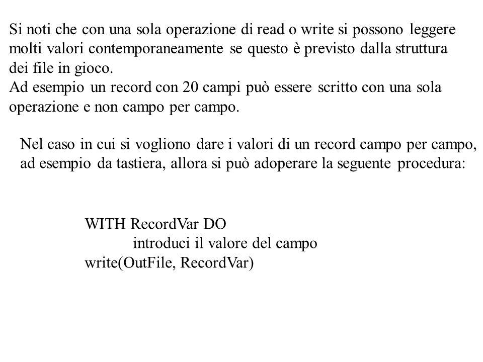 PROCEDURE GetMasterRec(VAR MStu:MStuRecord;VAR OldMaster:MStuRecFile); BEGIN IF NOT eof(OldMaster) THEN read(OldMaster,MStu) END; PROCEDURE GetSemesterRec(LaSessione:Stringa25;VAR MStu:MStuRecord; VAR Semester:StuRecFile); BEGIN IF NOT eof(Semester) THEN BEGIN read(Semester,MStu.Info); MStu.Sessione:=LaSessione END END; StuRecord NascitaMatricola CognomeNome AnnoCorsoRisultatiMedia Sessione MStuRecord SemesterOldMaster NewMaster SessioneStuRecord SessioneStuRecord MStuRec