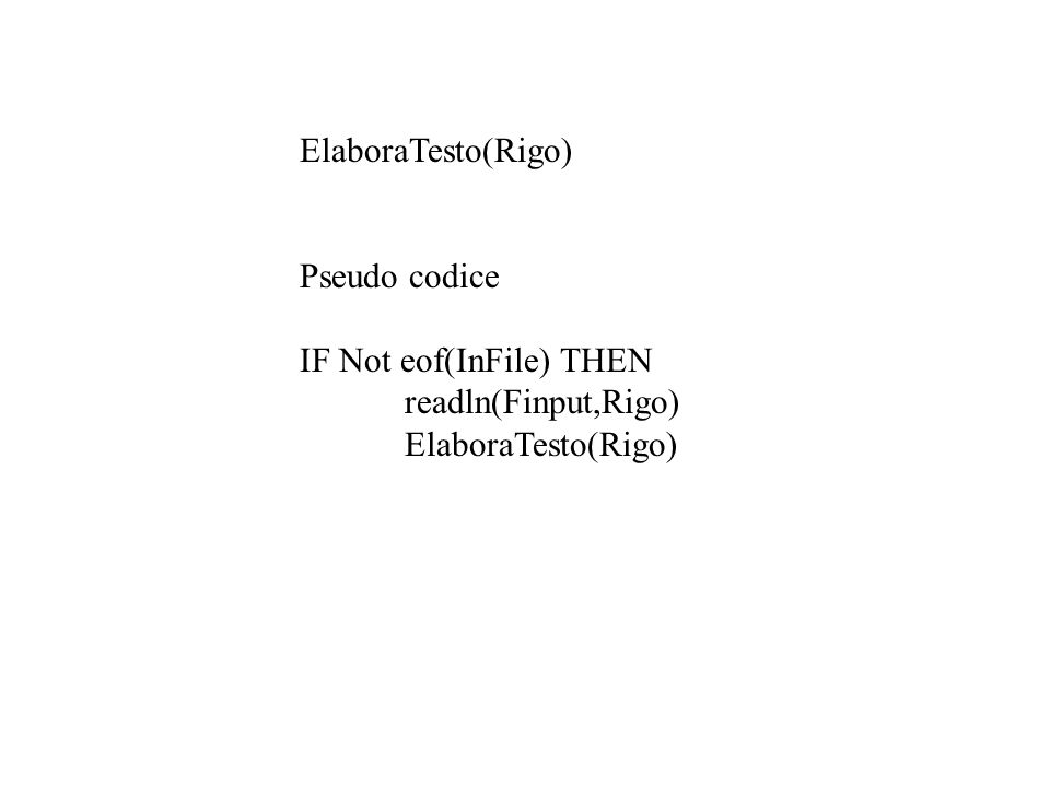 ElaboraTesto(Rigo) Pseudo codice IF Not eof(InFile) THEN readln(Finput,Rigo) ElaboraTesto(Rigo)