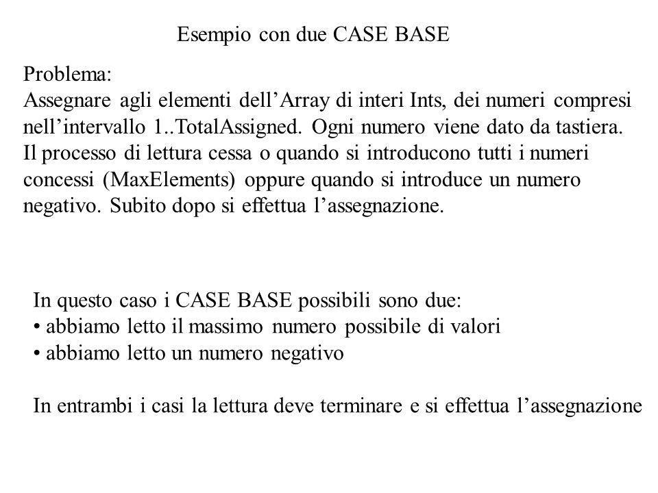 Esempio con due CASE BASE Problema: Assegnare agli elementi dellArray di interi Ints, dei numeri compresi nellintervallo 1..TotalAssigned. Ogni numero
