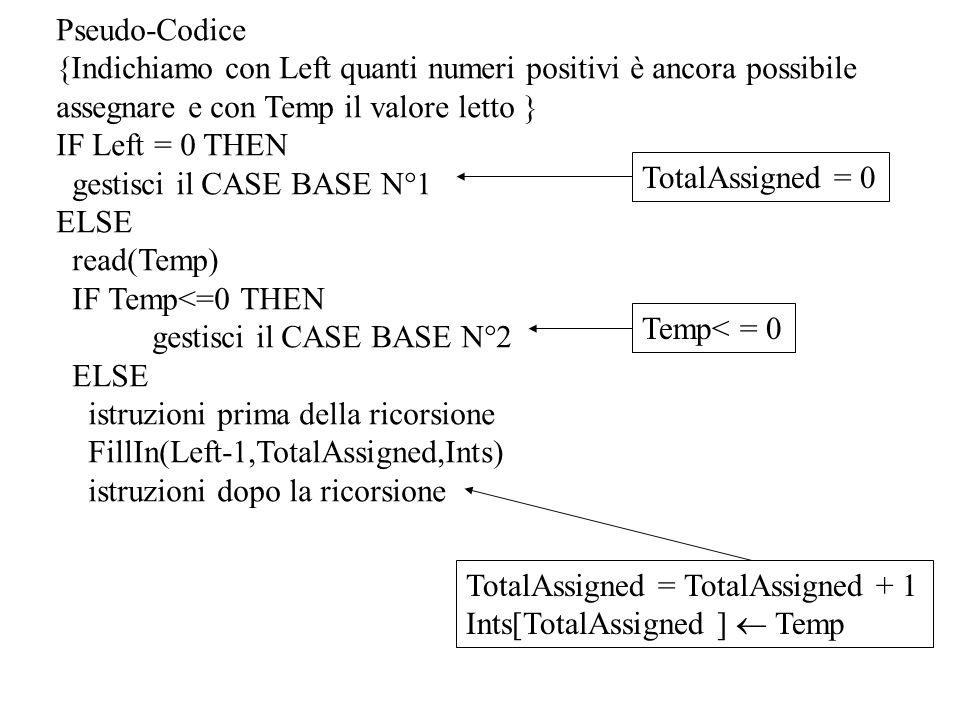 Pseudo-Codice {Indichiamo con Left quanti numeri positivi è ancora possibile assegnare e con Temp il valore letto } IF Left = 0 THEN gestisci il CASE