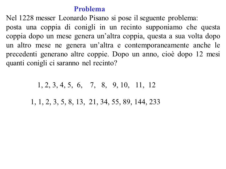 Problema Nel 1228 messer Leonardo Pisano si pose il seguente problema: posta una coppia di conigli in un recinto supponiamo che questa coppia dopo un
