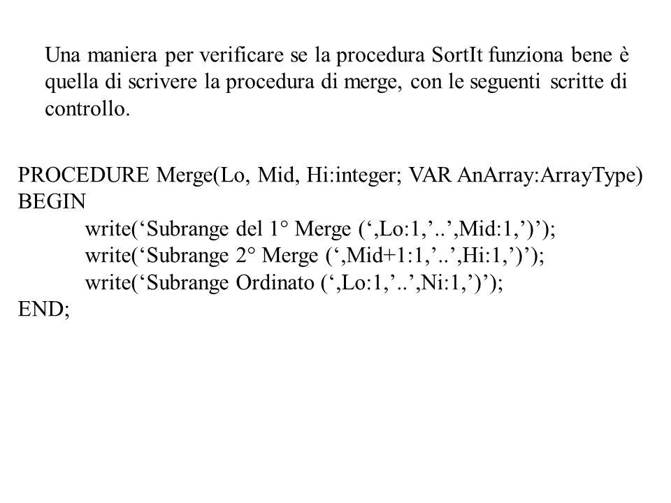 Una maniera per verificare se la procedura SortIt funziona bene è quella di scrivere la procedura di merge, con le seguenti scritte di controllo. PROC