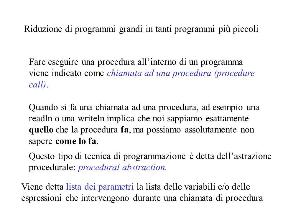 Riduzione di programmi grandi in tanti programmi più piccoli Fare eseguire una procedura allinterno di un programma viene indicato come chiamata ad una procedura (procedure call).