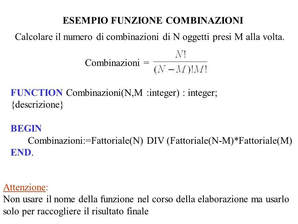ESEMPIO FUNZIONE COMBINAZIONI Calcolare il numero di combinazioni di N oggetti presi M alla volta. Combinazioni = Attenzione: Non usare il nome della