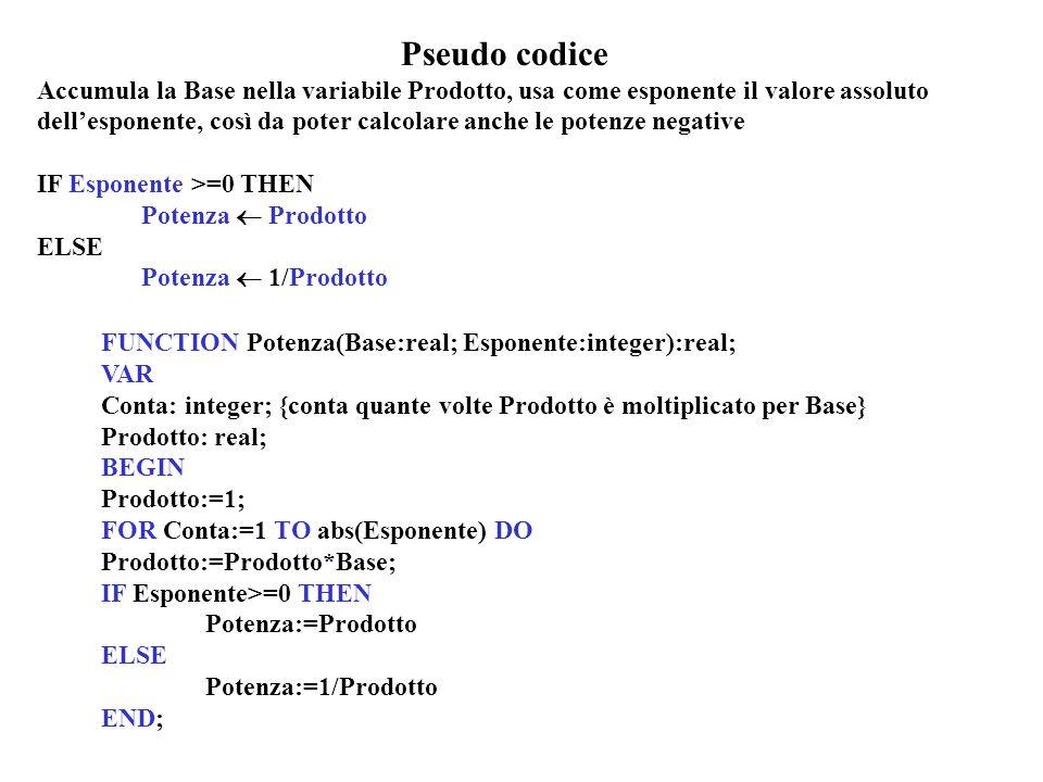 Pseudo codice Accumula la Base nella variabile Prodotto, usa come esponente il valore assoluto dellesponente, così da poter calcolare anche le potenze