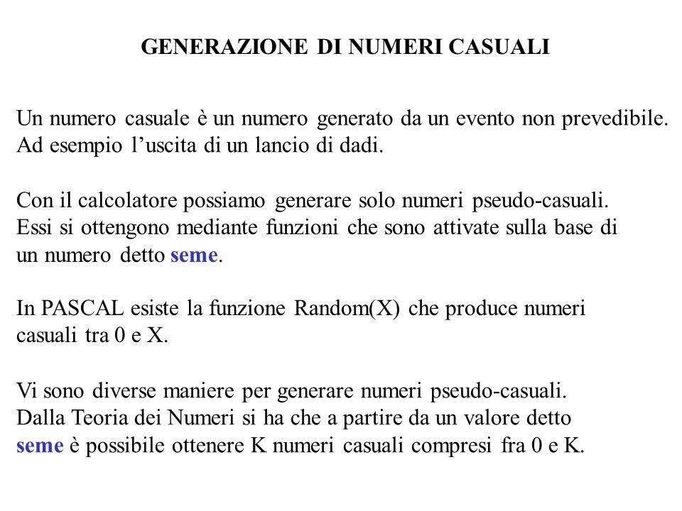 GENERAZIONE DI NUMERI CASUALI Un numero casuale è un numero generato da un evento non prevedibile. Ad esempio luscita di un lancio di dadi. Con il cal