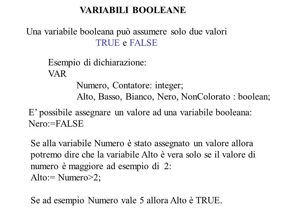 Una variabile booleana può assumere solo due valori TRUE e FALSE Esempio di dichiarazione: VAR Numero, Contatore: integer; Alto, Basso, Bianco, Nero,