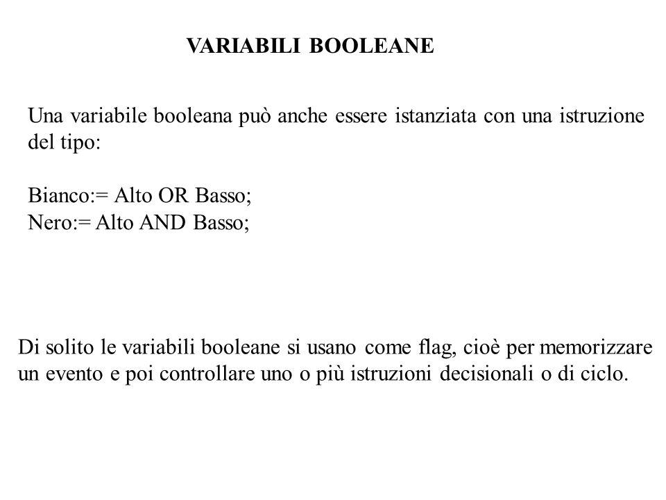 Una variabile booleana può anche essere istanziata con una istruzione del tipo: Bianco:= Alto OR Basso; Nero:= Alto AND Basso; Di solito le variabili