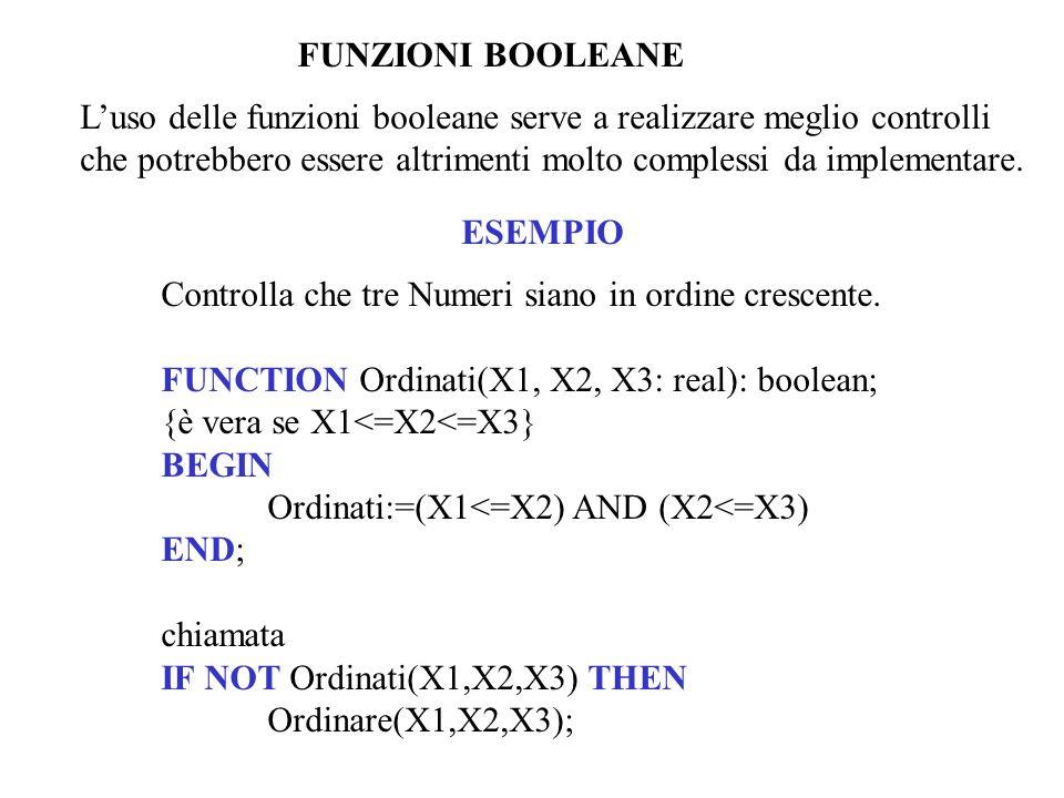 FUNZIONI BOOLEANE Luso delle funzioni booleane serve a realizzare meglio controlli che potrebbero essere altrimenti molto complessi da implementare. E