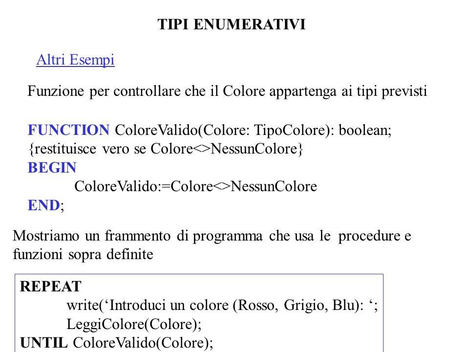 TIPI ENUMERATIVI Altri Esempi Funzione per controllare che il Colore appartenga ai tipi previsti FUNCTION ColoreValido(Colore: TipoColore): boolean; {