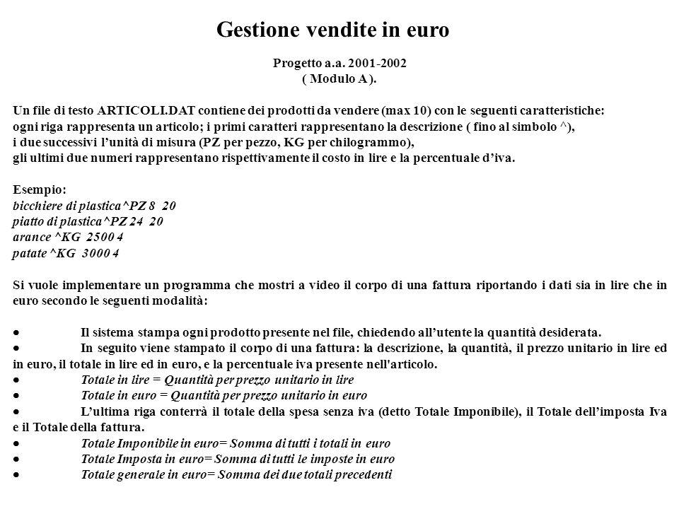 Gestione vendite in euro Progetto a.a. 2001-2002 ( Modulo A ). Un file di testo ARTICOLI.DAT contiene dei prodotti da vendere (max 10) con le seguenti