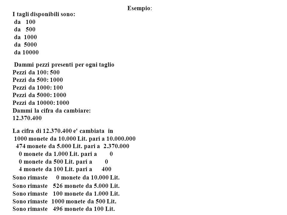 Esempio: I tagli disponibili sono: da 100 da 500 da 1000 da 5000 da 10000 Dammi pezzi presenti per ogni taglio Pezzi da 100: 500 Pezzi da 500: 1000 Pe