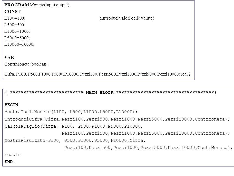 PROGRAM Monete(input,output); CONST L100=100; {Introduci valori delle valute} L500=500; L1000=1000; L5000=5000; L10000=10000; VAR ContrMoneta: boolean