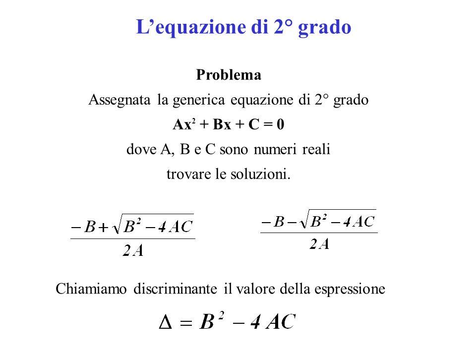 Lequazione di 2° grado Problema Assegnata la generica equazione di 2° grado Ax 2 + Bx + C = 0 dove A, B e C sono numeri reali trovare le soluzioni. Ch