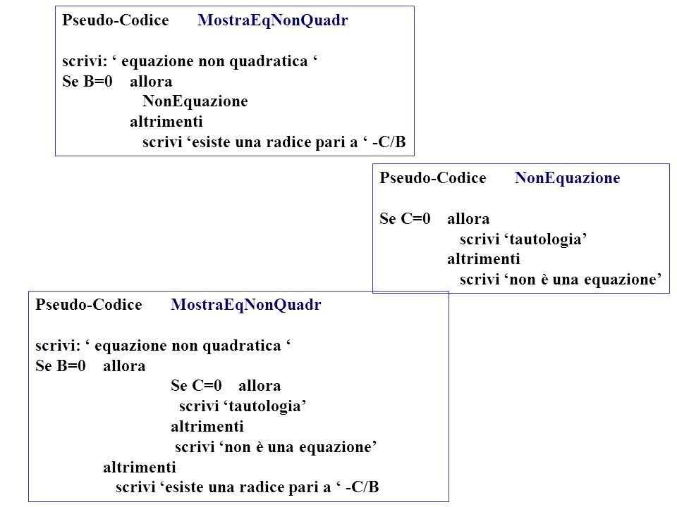 Pseudo-CodiceMostraEqNonQuadr scrivi: equazione non quadratica Se B=0 allora NonEquazione altrimenti scrivi esiste una radice pari a -C/B Pseudo-Codic