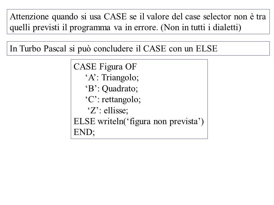 Attenzione quando si usa CASE se il valore del case selector non è tra quelli previsti il programma va in errore. (Non in tutti i dialetti) In Turbo P
