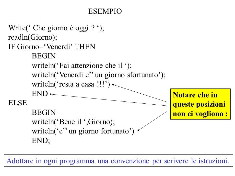 PROCEDURE MostraTagliMonete (L100, L500,L1000,L5000,L10000: real); {in: tagliout:mostra i tagli} BEGIN writeln( I tagli disponibili sono: ); writeln( da , L100:5:0); writeln( da , L500:5:0); writeln( da , L1000:5:0); writeln( da , L5000:5:0); writeln( da , L10000:5:0); END; PROCEDURE IntroduciCifra(VAR Cif,Pzi100,Pzi500,Pzi1000,Pzi5000,Pzi10000:real; VAR CMon:boolean); {Introduci la cifra da cambiare e le monete disponibili per ognitaglio} BEGIN CMon:=TRUE; writeln( Dammi pezzi presenti per ogni taglio ); write( Pezzi da 100: );readln(Pzi100); write( Pezzi da 500: );readln(Pzi500); write( Pezzi da 1000: );readln(Pzi1000); write( Pezzi da 5000: );readln(Pzi5000); write( Pezzi da 10000: );readln(Pzi10000); writeln( Dammi la cifra da cambiare: );readln(Cif); IF 100*Pzi100+500*Pzi500+Pzi1000*1000+5000*Pzi5000+10000*Pzi10000 <= Cif THEN BEGIN writeln( ATTENZIONE NON HO MONETA SUFFICIENTE !!!!! ); CMon:=FALSE; END END; BEGIN MostraTagliMonete(L100, L500,L1000,L5000,L10000); IntroduciCifra(Cifra,Pezzi100,..,Pezzi10000,ContrMoneta); CalcolaTaglio(Cifra, P100,..,P10000,Pezzi100,..,Pezzi10000,ContrMoneta); MostraRisultato(P100,..,P10000,Cifra, Pezzi100,..,Pezzi10000,ContrMoneta); readln END.
