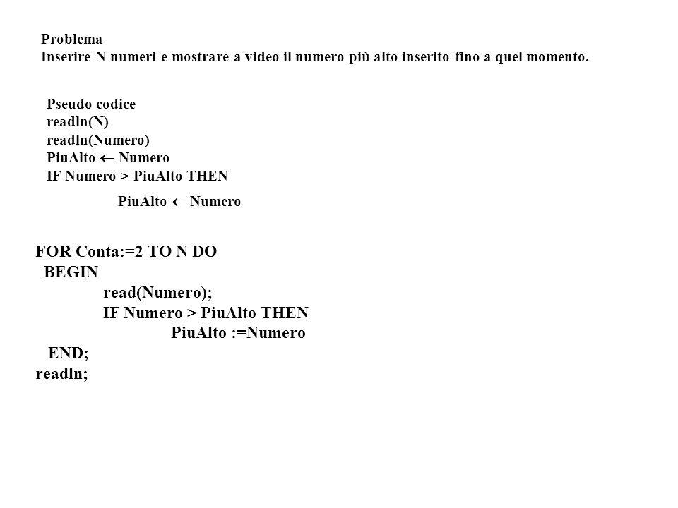 Problema Inserire N numeri e mostrare a video il numero più alto inserito fino a quel momento. Pseudo codice readln(N) readln(Numero) PiuAlto Numero I