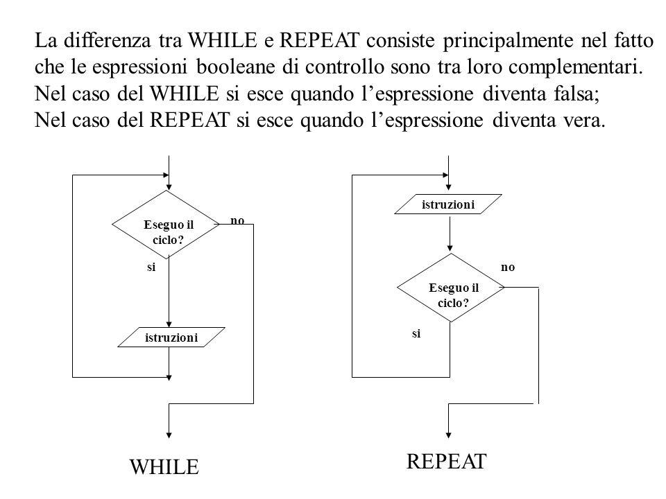 La differenza tra WHILE e REPEAT consiste principalmente nel fatto che le espressioni booleane di controllo sono tra loro complementari. Nel caso del