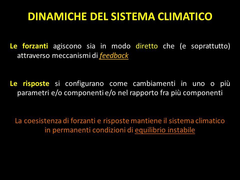DINAMICHE DEL SISTEMA CLIMATICO Le forzanti agiscono sia in modo diretto che (e soprattutto) attraverso meccanismi di feedback Le risposte si configur