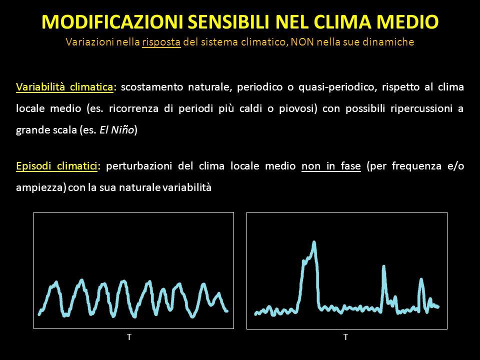 MODIFICAZIONI SENSIBILI NEL CLIMA MEDIO Variazioni nella risposta del sistema climatico, NON nella sue dinamiche Variabilità climatica: scostamento na