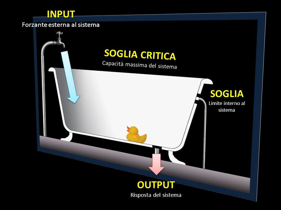 INPUT Forzante esterna al sistema SOGLIA Limite interno al sistema SOGLIA CRITICA Capacità massima del sistema OUTPUT Risposta del sistema OUTPUT Risp