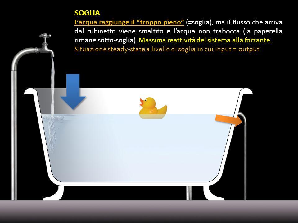 SOGLIA Lacqua raggiunge il troppo pieno (=soglia), ma il flusso che arriva dal rubinetto viene smaltito e lacqua non trabocca (la paperella rimane sot