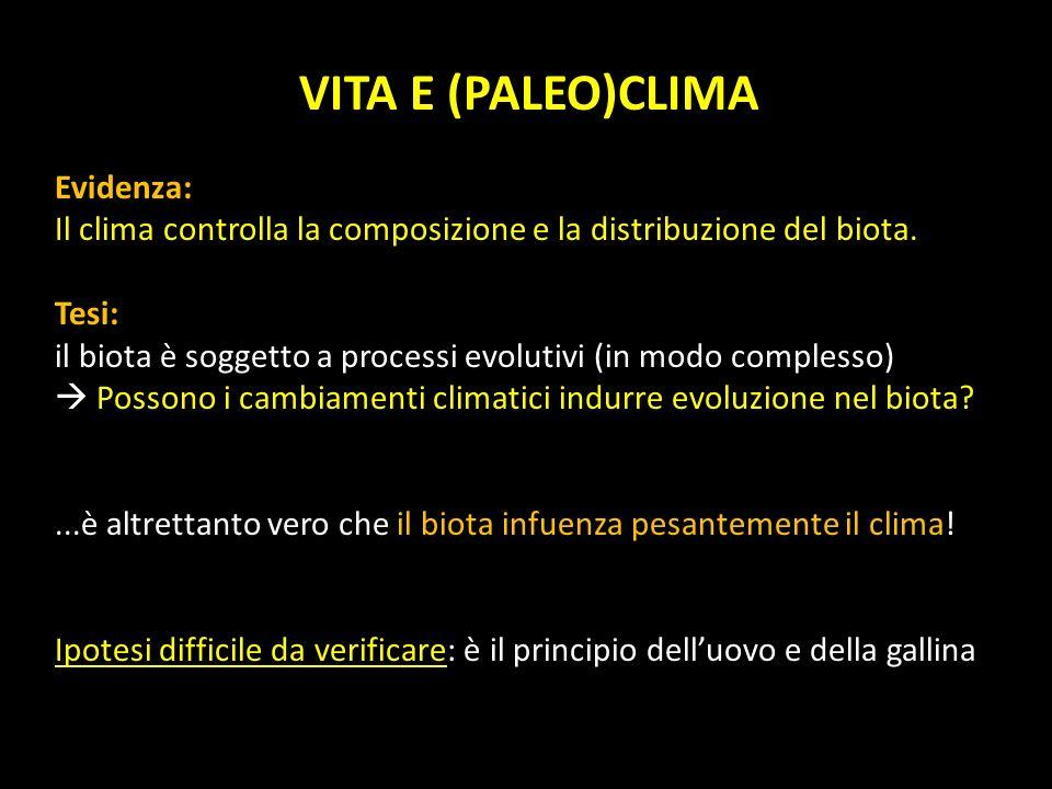 VITA E (PALEO)CLIMA Evidenza: Il clima controlla la composizione e la distribuzione del biota. Tesi: il biota è soggetto a processi evolutivi (in modo