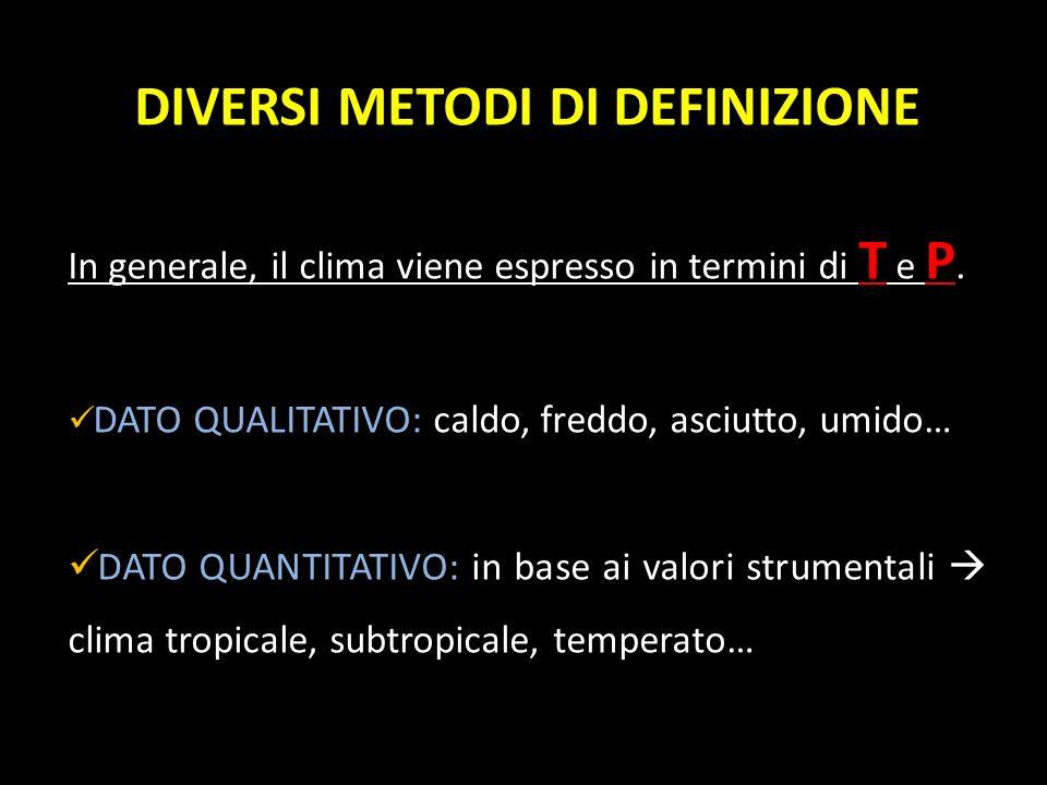 DIVERSI METODI DI DEFINIZIONE In generale, il clima viene espresso in termini di T e P. DATO QUALITATIVO: caldo, freddo, asciutto, umido… DATO QUANTIT