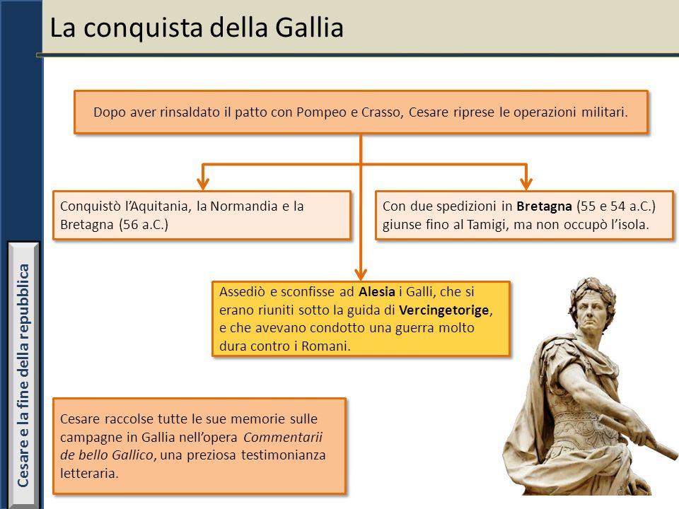 La conquista della Gallia Dopo aver rinsaldato il patto con Pompeo e Crasso, Cesare riprese le operazioni militari. Conquistò lAquitania, la Normandia
