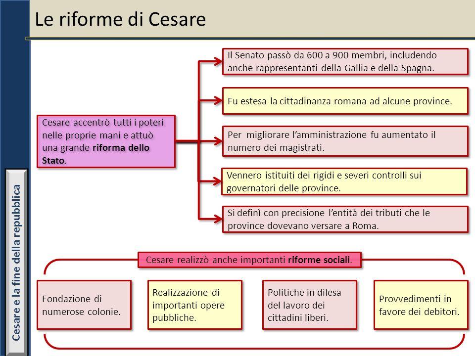 Le riforme di Cesare Cesare accentrò tutti i poteri nelle proprie mani e attuò una grande riforma dello Stato. Il Senato passò da 600 a 900 membri, in
