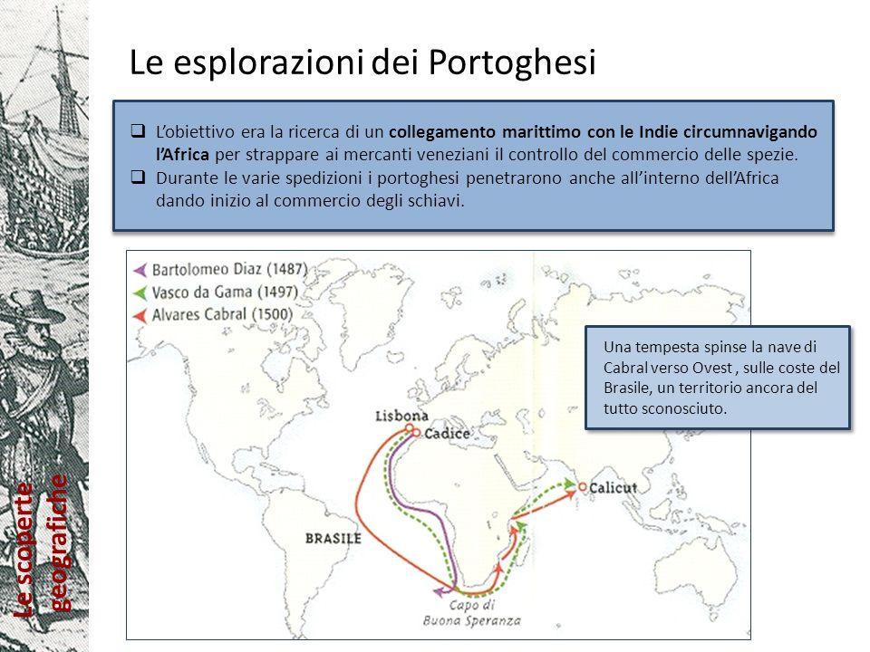 Le scoperte geografiche Le esplorazioni dei Portoghesi Lobiettivo era la ricerca di un collegamento marittimo con le Indie circumnavigando lAfrica per