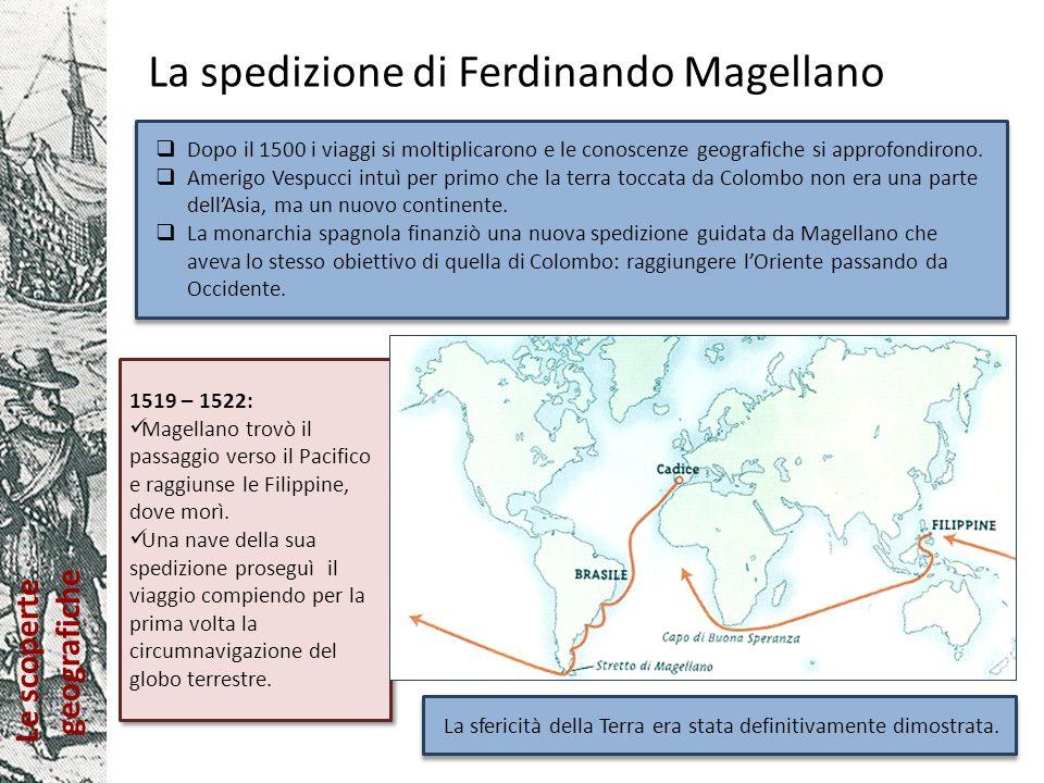 Le scoperte geografiche Gli imperi coloniali nel 1500 Trattato di Tordesillas (1494): Spagna e Portogallo si spartiscono idealmente le aree di influenza tracciando una linea immaginaria, detta raya, in mezzo allAtlantico: le terre a Ovest erano a disposizione della Spagna, le terre a Est del Portogallo.