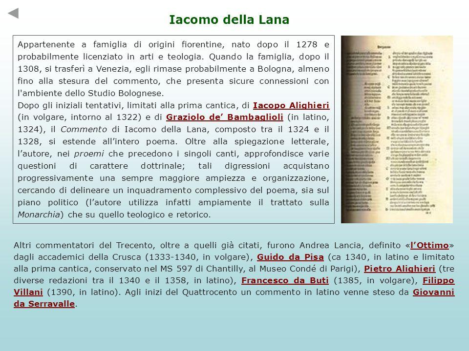 Benvenuto da Imola (Bologna 1330 ca – Ferrara 1388) Benvenuto de Rambaldi, letterato bolognese amico di Petrarca e Boccaccio, fu un grande estimatore di Dante, che giudicò superiore a tutti gli altri poeti in volgare.