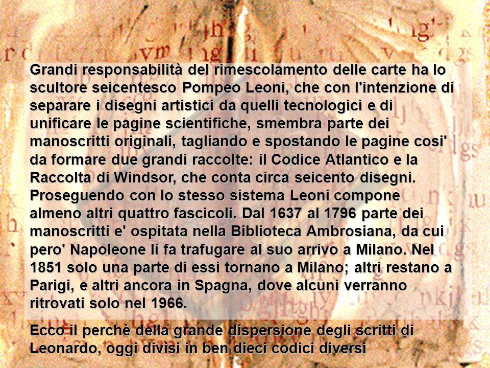 Grandi responsabilità del rimescolamento delle carte ha lo scultore seicentesco Pompeo Leoni, che con l'intenzione di separare i disegni artistici da