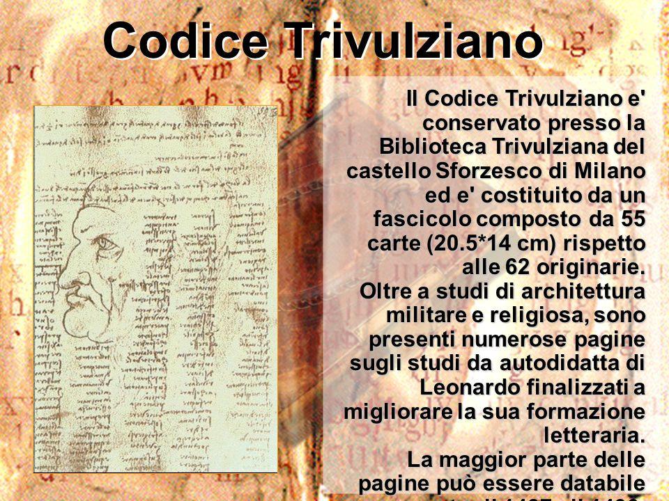 Codice Trivulziano Il Codice Trivulziano e' conservato presso la Biblioteca Trivulziana del castello Sforzesco di Milano ed e' costituito da un fascic