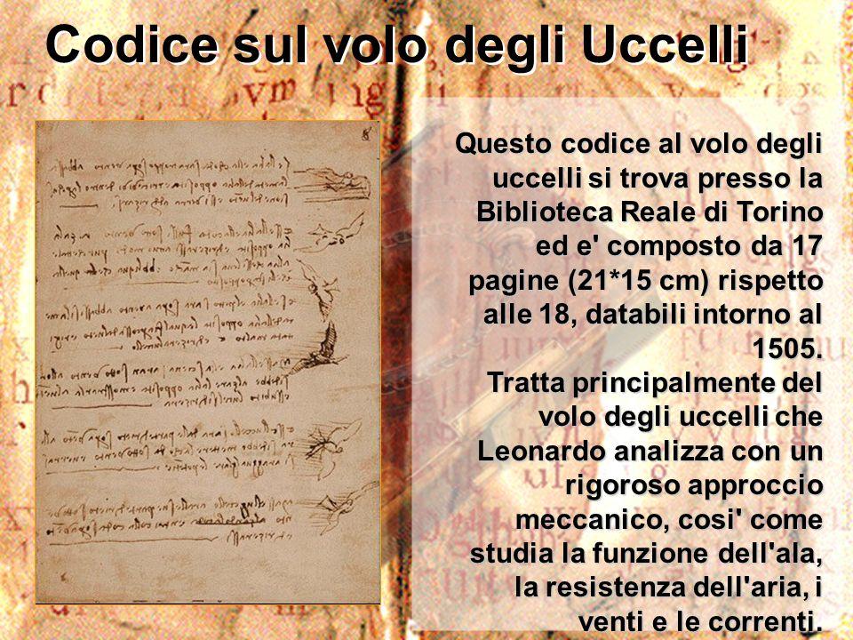 Codice sul volo degli Uccelli Questo codice al volo degli uccelli si trova presso la Biblioteca Reale di Torino ed e' composto da 17 pagine (21*15 cm)