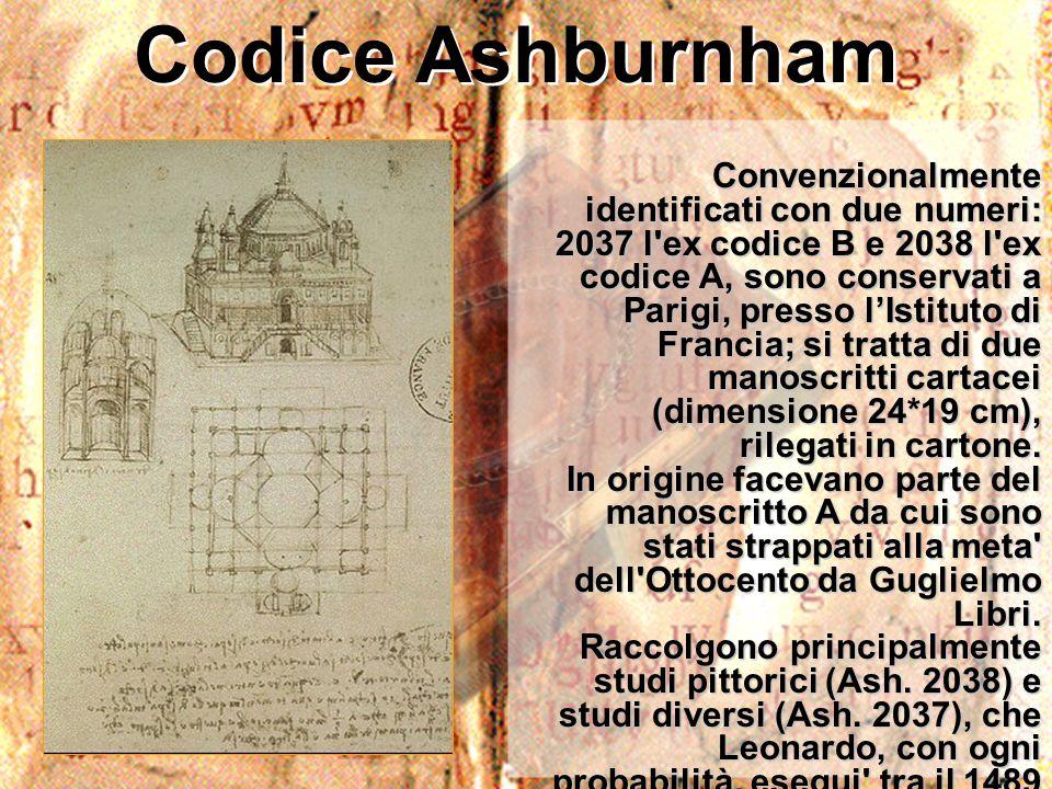 Codice Ashburnham Convenzionalmente identificati con due numeri: 2037 l'ex codice B e 2038 l'ex codice A, sono conservati a Parigi, presso lIstituto d