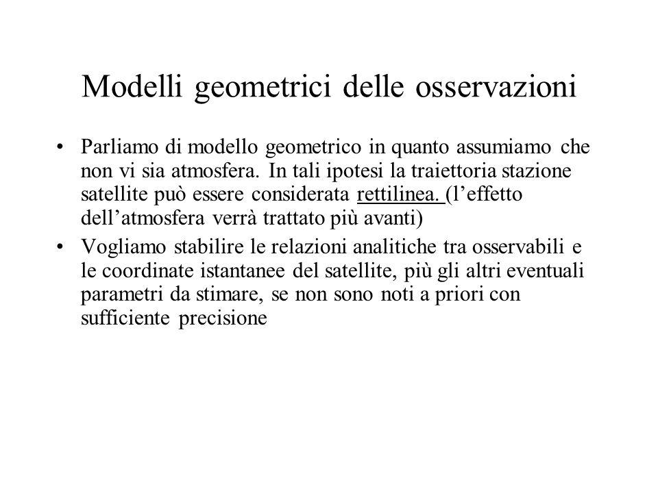 Modelli geometrici delle osservazioni Parliamo di modello geometrico in quanto assumiamo che non vi sia atmosfera. In tali ipotesi la traiettoria staz